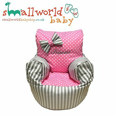 Personalised Grey Stripe And Pink Polka Dot Bean Bag Chair (NEXT DAY DISPATCH)