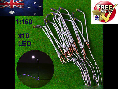 10 x 1/160 N Scale Model Trains Metal Light Poles Wired LED Lighted Street Lamps