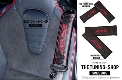 The Tuning-Shop Ltd 2 x Seat Belt Covers Pads Black Leather 500 Italy Red Embroidery for Fiat