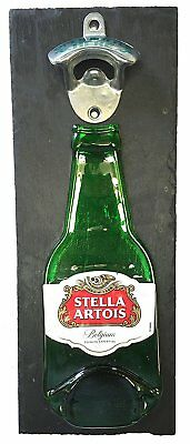 Stella Artois  Bottle Opener, Mounted on Slate backing. Unique male Xmas Gift