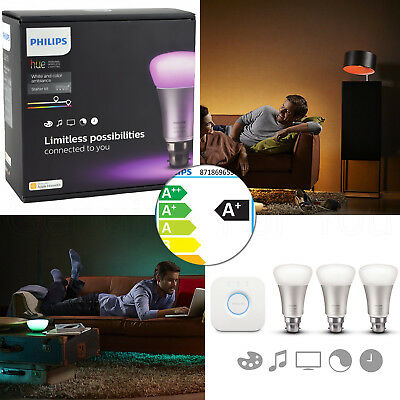 Genuine Philips Hue Wireless Ambiance Colored Lighting B22 LED Bulb Starter Kit