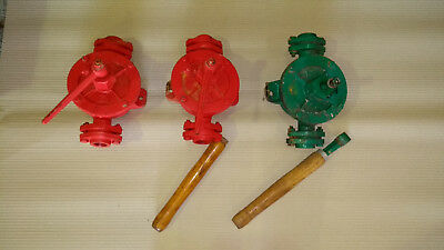 cast iron swing lever oil pumps fuel marine plant marked No 2 size 3off job lot