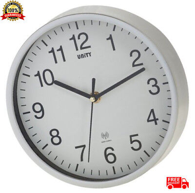 Radio Controlled Wall Clock Silver Radcliffe Clear Dial Silent Movement NEW