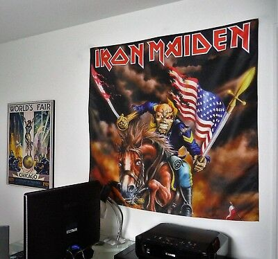 IRON MAIDEN Eddie HUGE 4X4 BANNER poster tapestry american flag soldier trooper