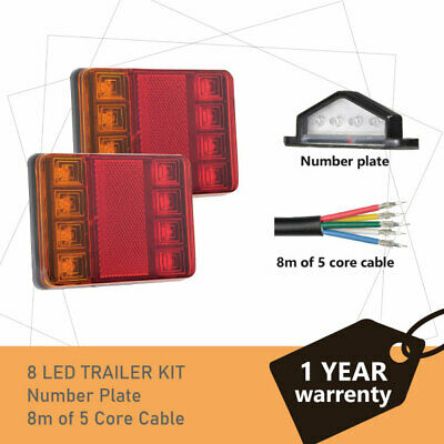 Pair of 8 LED TRAILER LIGHTS KIT - 1 x NUMBER PLATE LIGHT, 8M x 5 CORE CABLE 12V