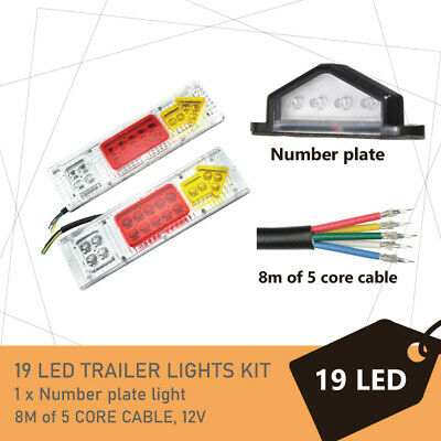 Pair of 19 LED TRAILER LIGHTS KIT -1 x NUMBER PLATE LIGHT, 8M x 5 CORE CABLE 12V