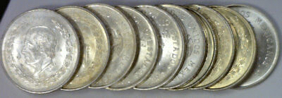 1951-53 Mexico 5 Pesos Silver Mixed Date 10 Coin Lot KM# 467 AU/UNC