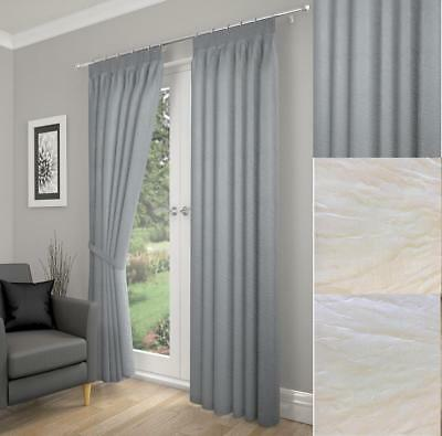 One Pair Of Luxury Tonga Crinkled Effect Lined Voile Curtain Tiebacks Included