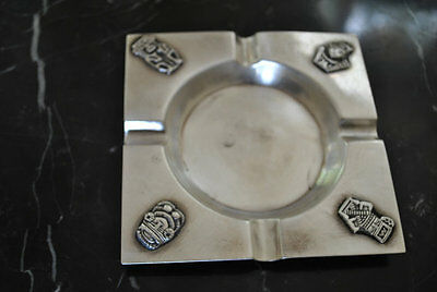 Vintage Columbian sterling silver ash tray .925 with Aztec Figures