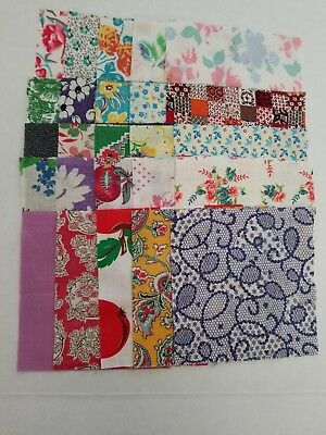 """(lot#016) vintage 1920's 1930's feed sack quilting material 5""""x5"""" charm squares"""