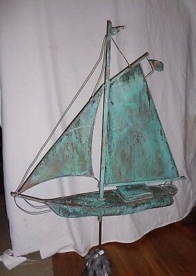 Antique Schooner Sailboat Weathervane Topper Maritime Nautical Weather Vane