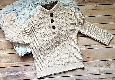 Cherokee Toddler Boy Sweater 2T Cable Knit Ivory Beige Sweater Chunky Knit