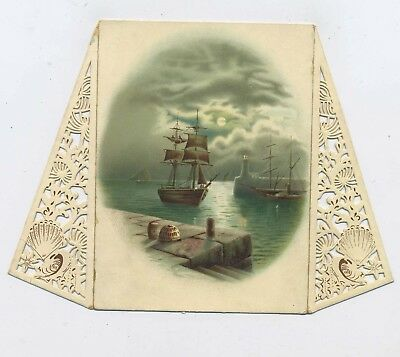 Antique Victorian Pierced Christmas Card Ship Arriving in Harbour Happy New Year