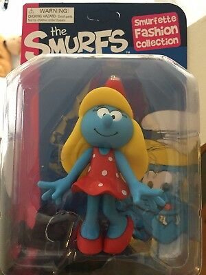 """The SMURFS SMURFETTE Fashion Collection Red Polkadot Dress 5"""" Figure £7.49"""