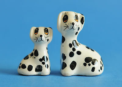Two Vintage Babbacombe (Philip Laureston) Dalmation Dog & Pup Ceramic Figurines