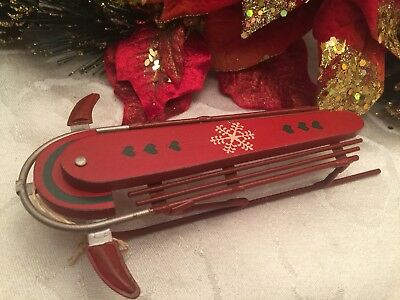 """Sled Christmas Ornament Seasons - Midwest Of Cannon Falls Red 7"""" SCF"""