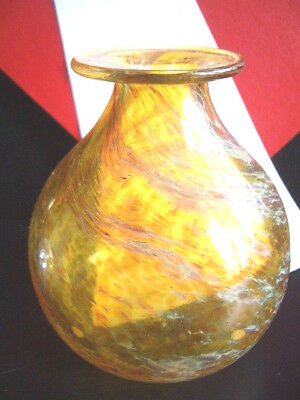 NORMAN STUART-CLARKE Early 1976 Topaz, Eucalyptus SWIRLING TORNADO VASE - Signed