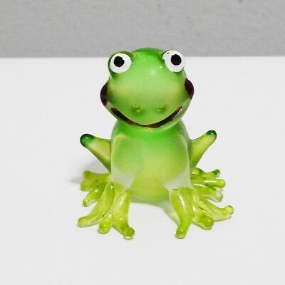 Smiling Frog Toad Figurine Animal Hand Blown Glass Home Decor Collectible Gift