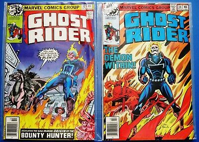 GHOST RIDER 32 + 34 (1st solo series, Marvel Comics volume one) 1973