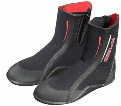 SOLA Zipped Surf Dive Neoprene Wetsuit Boots Junior Child Adult Kids Black Red