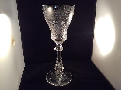 Antique Cut Glass Pokal Cylindrical Beaker Engraved Wilhem Nohl 7-3-1908