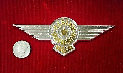 Harley Davidson USA Wings .925 Sterling Silver With Gold Overlay. Embossed. Rare