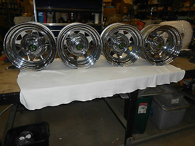 "15"" X 8 "" Vintage Nos  Chrome Wagon Wheel / Rim Set Of Four"