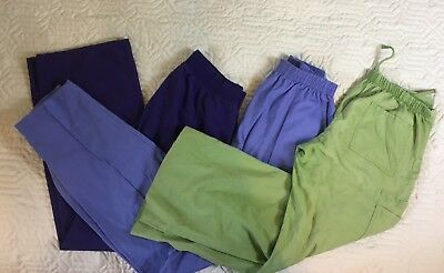 Lot Of 3: SB Peaches Scrubs Pants Medical Green Blue Purple Women Size Small