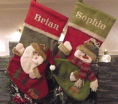 Burlap Snowman / Santa Personalised Christmas Stockings Embroidered with names