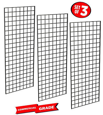 Only Hangers Commercial Grid Panels, 2' x 6' Black (Pack of 3)