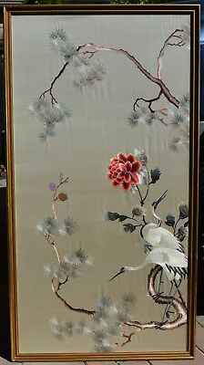 124 x 64 cm Chinese Silk Embroidery Textile White Crane Pine Tree Red Flower