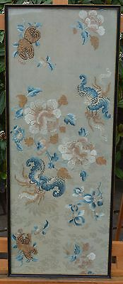 Chinese Silk Embroidery Bats Fruit Flowers Antique Qing Dynasty 19th Century
