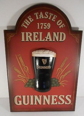 Vintage Wooden GUINNESS 3-D Sign - The Tast of Ireland 1759
