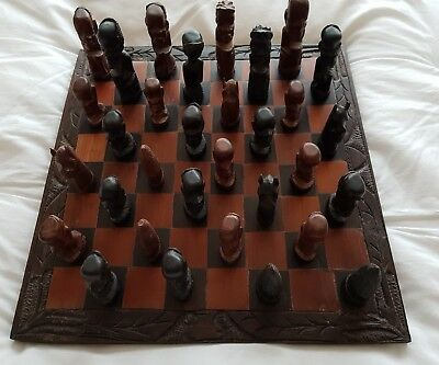 Hand Carved Wood African Chess Board, superb quality, never been used