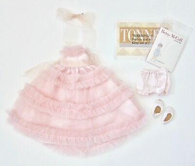 """Tonner Betsy McCall Doll 14"""" Clothes~Pink Formal Dress, Shoes, Panties, Bow"""