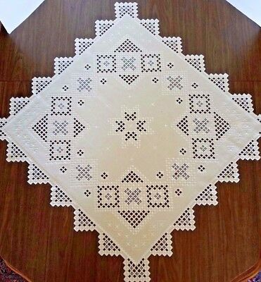 """Hand Embroidered Hardanger Tablecloth - Bisque - 33"""" Square - Exquisite ! ! !"""