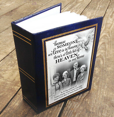 """Small personalised photo album book, 96 x 6x4"""" photos, In loving memory gift"""