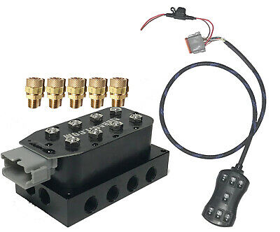 """Fast 1/2"""" Air Ride Suspension Manifold  w/fit  Air Bag 7-Switch fbss 250psi Max"""