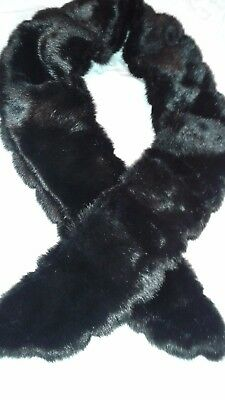 "Faux Mink Stole, Black, Frederick's of Hollywood, 60"" long and 4 1/2"" wide"