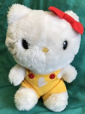 """Vintage 1985 Child Guidance Plush Hello Kitty Red Bow Yellow Suspenders Duck 9"""""""