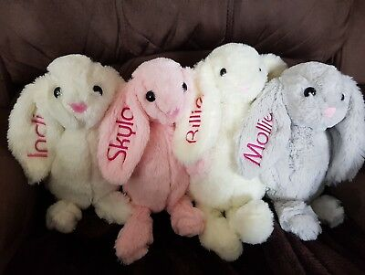 Baby Boy Girl Super soft Rabbit Bunny Teddy. Personalised with YOUR NAME