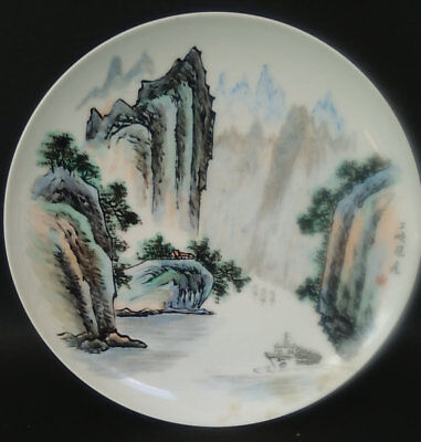 Vintage Signed Hand Painted Mountain Waterfall Scenery Porcelain Plate China