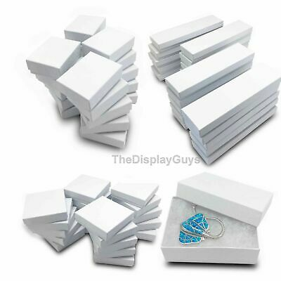 100 pcs White Swirl Cotton Filled Jewelry Gift Boxes With Variety Of Sizes