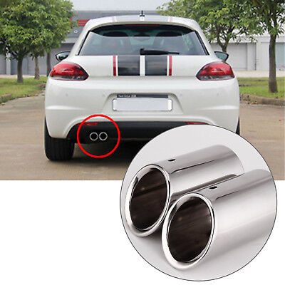 2x Stainless Steel Silver Muffler Exhaust Tail pipes Tips for Audi A4 B8 Q5 2.0T