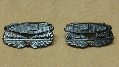 WWI US Army Tank Corps(Side, Later Pattern) Insignia Pins, One Pair