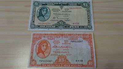 1971 1 Pound Ireland Note&1968 10 Shilling Note Wow!!!!