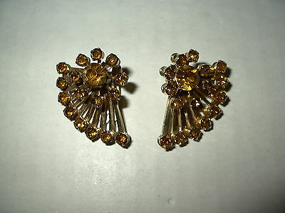 Vintage Signed CORO Goldtone & Topaz Rhinestone Clip Earrings