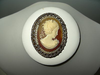 Vintage Large Victorian Style Goldtone & Pearl Celluloid Resin Oval Cameo Brooch
