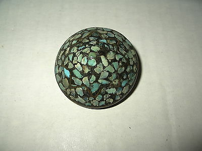 Vintage Signed Made In India Artisan Brass & Turquoise Inlay Domed Brooch Pin
