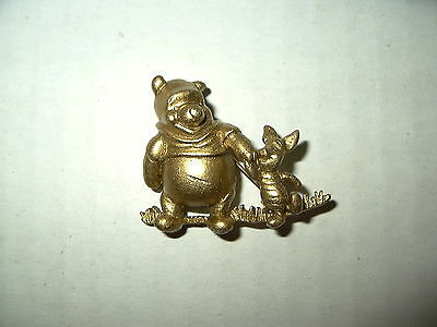 Cute Vintage Signed Disney Brushed Goldtone Winnie The Pooh & Piglet Brooch Pin